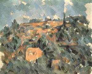 CEZANNE: HOUSE, 19th C. Paul Cezanne: The House on a Hill. Canvas.