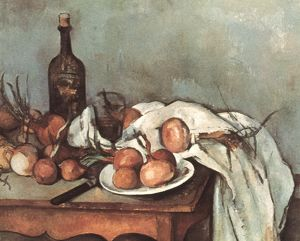 CEZANNE: STILL LIFE, 1895. Paul Cezanne: Still life with onions. Oil, 1895-1900.