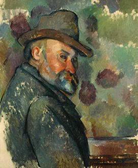 CEZANNE: SELF-PORTRAIT. 'Self-Portrait with a Hat.' Oil on canvas, Paul Cezanne