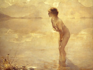 CHABAS: SEPTEMBER MORN. Oil on canvas by Paul Chabas, 20th century.