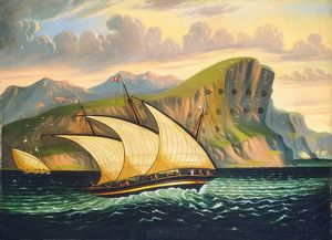 CHAMBERS: GIBRALTAR. 'Felucca off Gibraltar.' Oil on canvas by Thomas Chambers