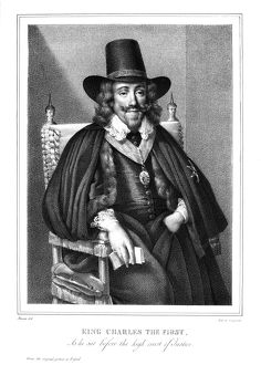CHARLES I (1600-1649). King of Great Britain and Ireland, 1625-1649. Lithograph