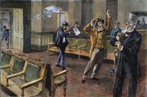 Charles J. Guiteau shooting President James A. Garfield at the old Baltimore & Potomac R