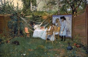 CHASE: BREAKFAST, 1888. William Merritt Chase: The Open Air Breakfast. Oil on canvas