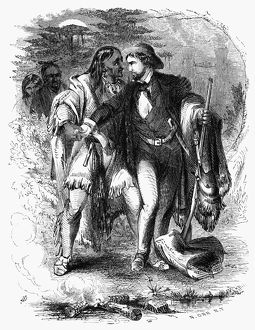 Cherokee Chief John Jolly, also known as Ahuludegi, embracing his adoptive son, Samuel Houston