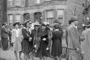 CHICAGO: EASTER, 1941. Congregation outside of a church on the South Side of Chicago