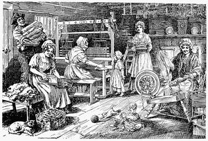 COLONIAL CLOTH MAKERS. Carding, spinning, and weaving woolen cloth in an 18th century