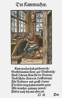 COMB MAKER, 1568. Woodcut, 1568, by Jost Amman