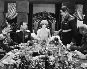Constance Talmadge, Tullio Carminsty (at right) and Lawrence Grant (at her left)
