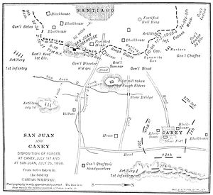 Contemporary map showing the advances of Colonel Theodore Roosevelt's Rough Riders