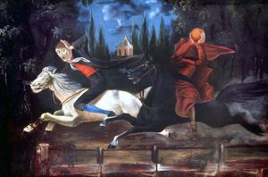 CRANE AND HORSEMAN. Ichabod Crane and the Headless Horseman, attributed to William John Wilgus