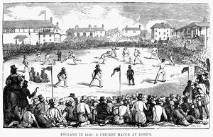 A cricket match at Lord's. Wood engraving, English, 1842
