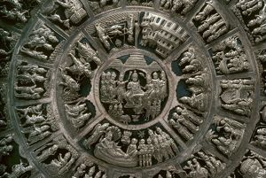 Detail of a decorative silver plate from India, with various scenes from Hindu or