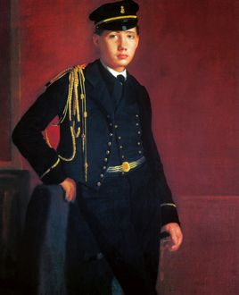 DEGAS: CADET, 1856-57. Achille de Gas in the uniform of a Cadet. Oil on canvas by Edgar Degas