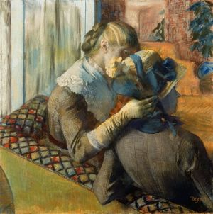 DEGAS: AT MILLINER'S, 1885. Edgar Degas: At the Milliner's. Pastel on canvas