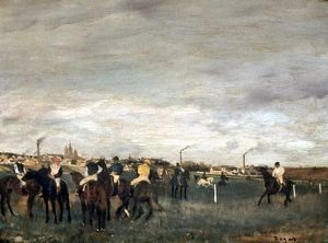DEGAS: THE RACES, 1873. Oil on canvas by Edgar Degas, 1873