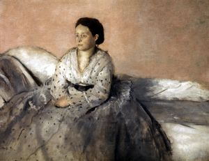 DEGAS: RENE de GAS, 1872-73. Madame Rene de Gas. Oil on canvas by Edgar Degas, 1872-73.