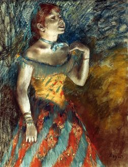 DEGAS: SINGER IN GREEN. Pastel on paper by Edgar Degas.