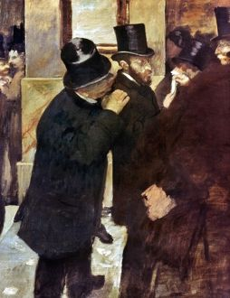 DEGAS: STOCK EXCHANGE. Oil on canvas by Edgar Degas, 1878-79.