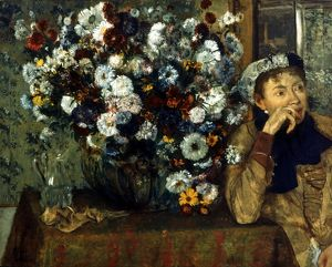 DEGAS: WOMAN & FLOWERS. A Woman Seated Beside a Vase of Flowers. Oil on canvas by Edgar Degas