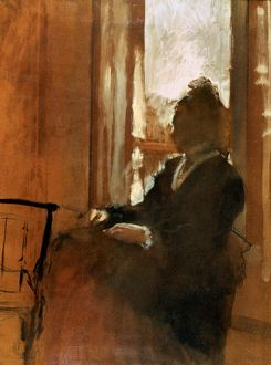DEGAS:WOMAN AT WINDOW. Oil on canvas by Edgar Degas, c1871-72.