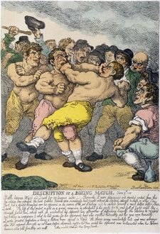 'Description of a Boxing Match': etching, 1812, by Thomas Rowlandson