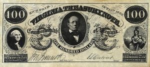 One hundred dollar bill issued by the Commonwealth of Virginia at Richmond, 15 October 1862