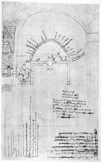 Drawing by Thomas Jefferson of the house and gardens at Monticello, c1772, with additions
