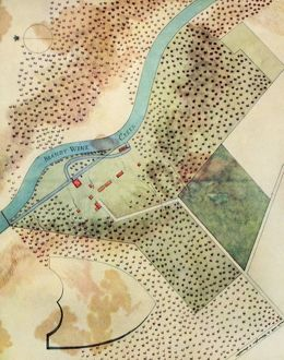 DUPONT POWDER MILLS, 1802. The initial plan for the Dupont powder mills on the Brandywine