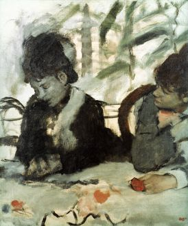 EDGAR DEGAS: AU CAFE. Oil on canvas.