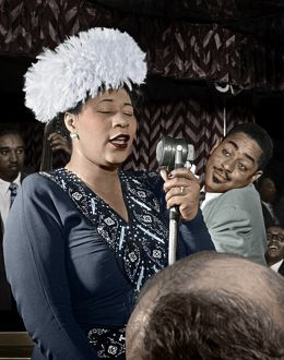 ELLA FITZGERALD (1917-1996). American singer. Performing on stage with Dizzy Gillespie