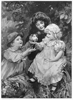 ELSLEY: CHICKS, 1897. 'Chicks.' Line engraving, 1899, after the painting
