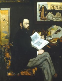 EMILE ZOLA (1840-1902). Portrait by Edouard Manet. Oil on canvas, 1868.
