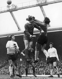 ENGLAND: SOCCER GAME, 1970. Gordan Banks, the goalkeeper for Stoke City FC punches