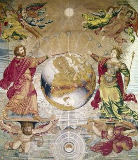 ESCORIAL: TAPESTRY. Tapestry depicting astronomy at the Escorial Palace, Spain, 16th
