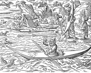 ESKIMOS HUNTING, 1580. Eskimos hunting sea birds. Woodcut, German, 1580