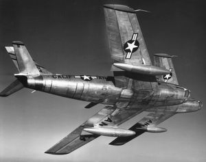 F-86 JET FIGHTER PLANE. Korean War era North American F-86 Sabre combat aircraft