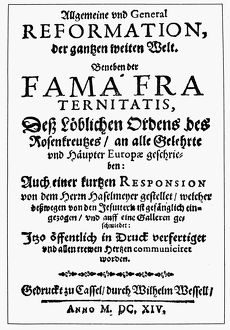 FAMA FRATERNITATIS, 1614. Title page of the first edition of 'Fama Fraternitatis&#39