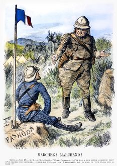FASHODA AFFAIR, 1898. 'Marchez! Marchand!' Contemporary English cartoon by Sir