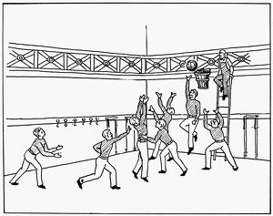 The First Game of Basketball. Drawing, c1892