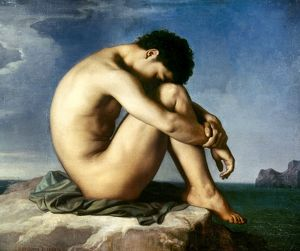 FLANDRIN: NUDE YOUTH, 1837. Nude Youth by the Seaside. Oil on canvas by Jean Hippolyte Flandrin