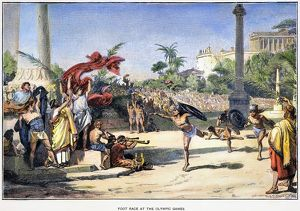 The foot race event at the Olympic games of ancient Greece. Line engraving, German