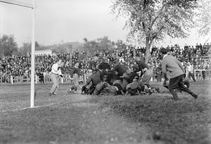 FOOTBALL GAME, 1912. College football game between Georgetown and Carlisle, 1912
