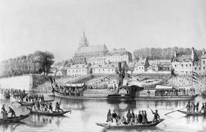 FRANCE: STEAMBOAT, 1839. Launching of the 'unexplodable' steamboat 'Papin&#39