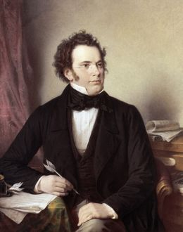FRANZ SCHUBERT (1797-1828). Austrian composer. Oil, 1875, by W.A. Rieder.