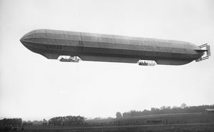 FRENCH MILITARY DIRIGIBLE. French military dirigible 'Spiess' in flight