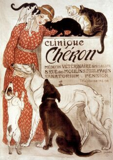 FRENCH VETERINARY CLINIC. Lithograph advertising poster, 1894, for Paris veterinary