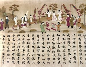A gong is struck at the birth of the Buddha to erase evil desires. Japanese silk painting