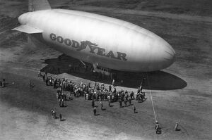 GOODYEAR BLIMP. Early 20th century photograph.