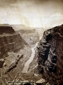 GRAND CANYON, 1872. A view of the Grand Canyon in Arizona, looking westward over
